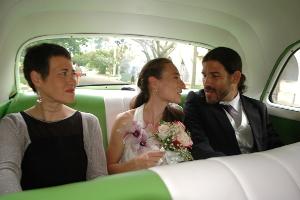 Brautpaar im Brautauto, Havanna, Kuba