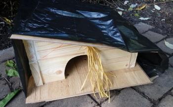 Igelhaus mit Plastik gegen Nässe schützen