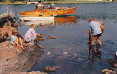 Auf der finnischen Insel Aland in einer einsamen Bucht
