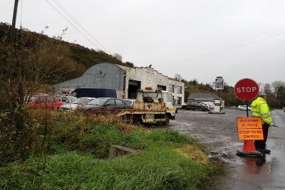 Straßenarbeiten Nähe Ballydehob, Irland