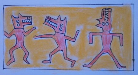 Zeichnung frei nach Keith Haring