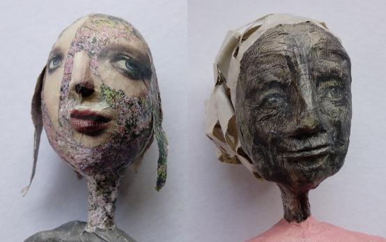 Skulpturen aus Zeitungspapier von Xenia Marita Riebe