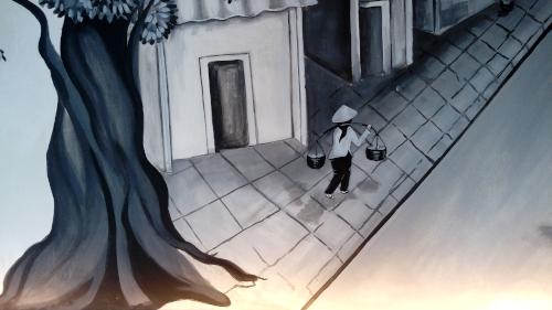 Vietnamesische Straßénszene - Wandgemälde von Anika Gerlach